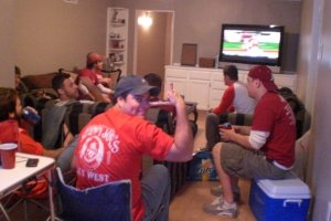 Manly Man Cave- great for watching Football! Go Hogs GO!