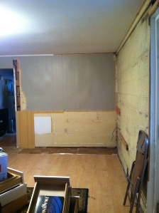 Taking out the wall, paneling, built-in cabinets